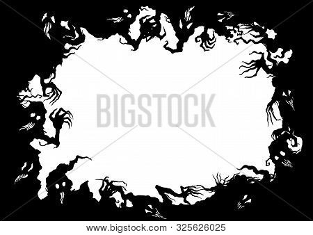 Illustration Fantasy Grotesque Frame With Ghost Creatures
