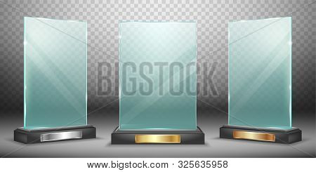 Glass Trophy Or Winner Award Realistic Vector Illustration. Transparent Crystal Or Acrylic Frame On