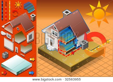 Isometric House With Conditioner In Cold Production
