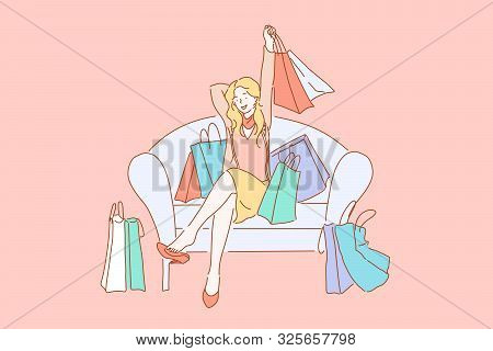 Happy Shopaholic With Purchases, Consumerism Concept. Young Female Buyer, Cheerful Fashionista With