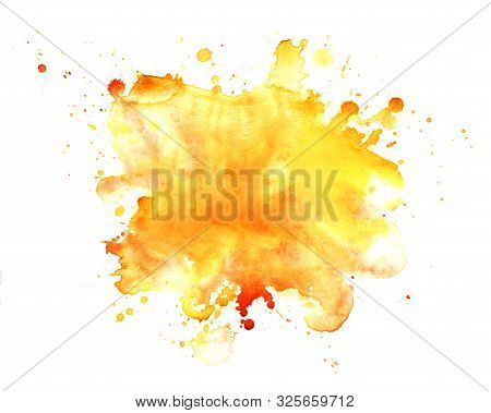 Abstract Watercolor Background. Graphic Element In Warm Colors. Splattered Stain Is Saturated Yellow