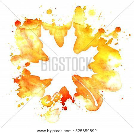 Abstract Watercolor Background. Graphic Element Warm Colors. White Maple Leaf Shape On Gradient Spot