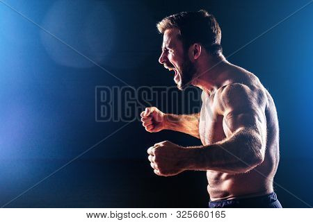 Muscular Fitness Man Antique Statue Perfect Muscles Six Pack Abs And Sexy Bare Nude Chest Bodybuilde