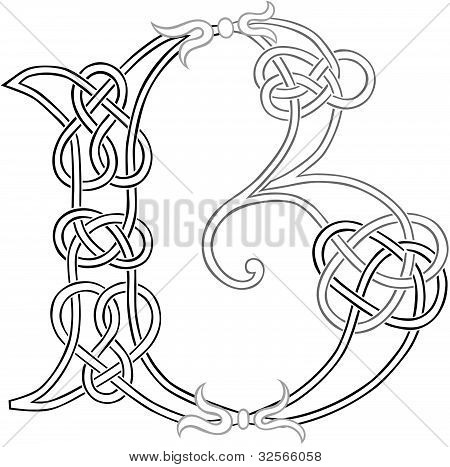Celtic Knot-work Letter B Outline