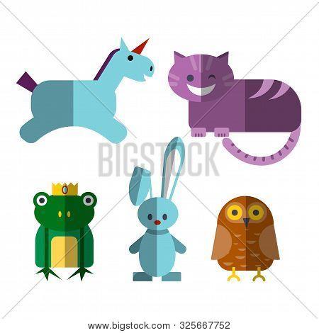 Cute Flat Vector Illustration Of Magical Animals - Cheshire Cat, Unicorn, Illusionist Rabbit, Owl An