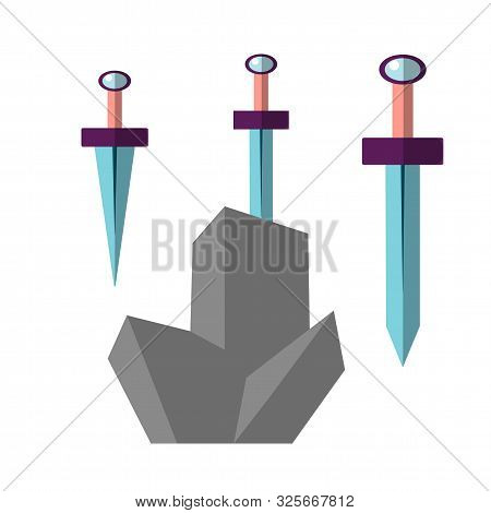 Excalibur Vector Flat Illustration. Icon Of Sword, Stucked In Grey Stone. Iconic Scene From The Medi