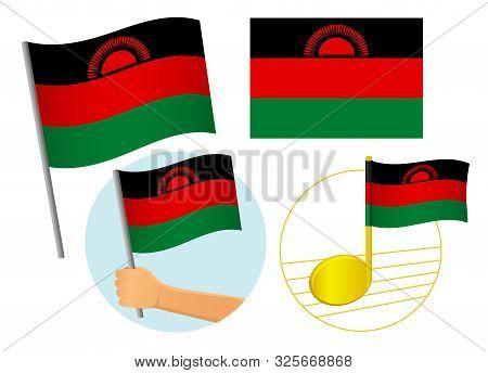 Malawi Flag Icon Set. National Flag Of Malawi Vector Illustration