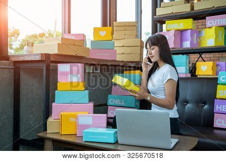 The Seller Are Preparing Products To Deliver To Their Customers, Online Sales, Or Ecommerce.concept