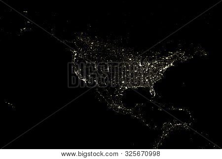 American Continent Electric Lights Map At Night. City Lights. Map Of North And Central America. View