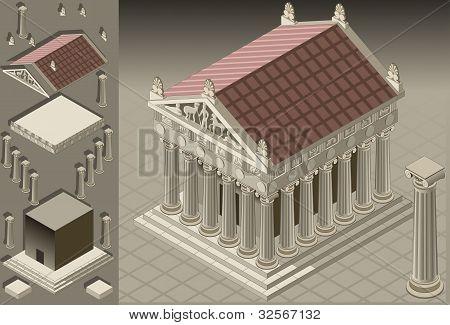 Isometric Greek Temple (ionic Architecture)