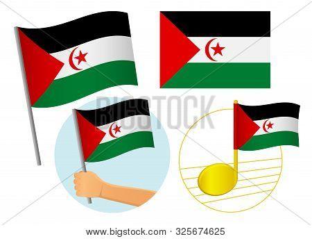 Sahrawi Arab Democratic Republic Flag Icon Set. National Flag Of Sahrawi Arab Democratic Republic Ve