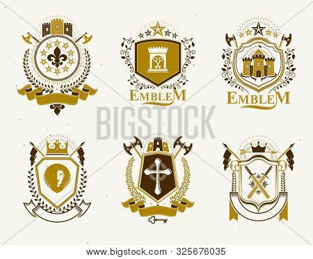 Set Of Old Style Heraldry Vector Emblems, Vintage Illustrations Decorated With Monarch Accessories,