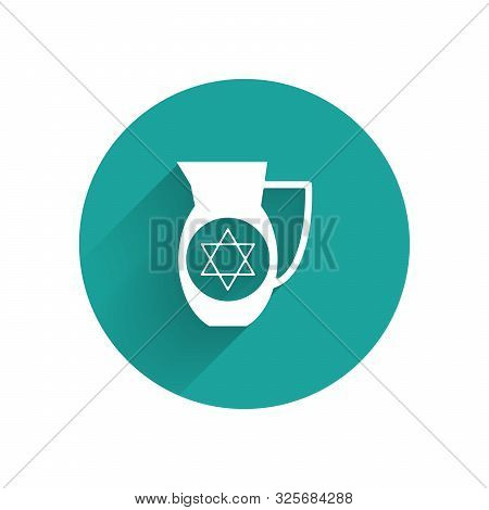 White Decanter With Star Of David Icon Isolated With Long Shadow. Pottery Jug. Organic Product In Ca