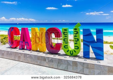 Cancun, Mexico - April 23, 2019: Dolphin Beach (playa Delfines). Resort Town Sign.