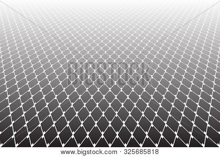 Abstract Geometric Pattern. Diminishing Perspective. White Lattice Texture On Black Background. Vect