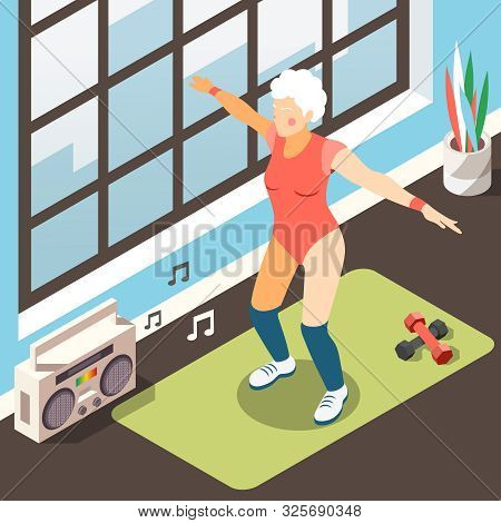 Longevity Isometric Background With Modern Elderly Woman In Suit For Fitness Doing Physical Exercise