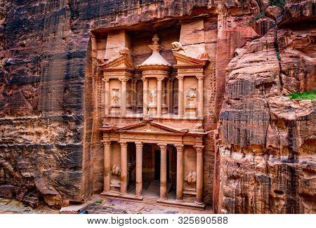 Magnificant and famous facade in Petra Jordan, the treasury or Al Khazna