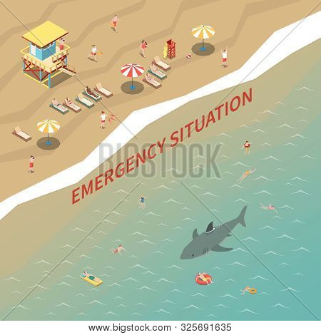 Beach Lifeguards With Loudspeakers Warning People About Shark 3d Isometric Vector Illustration