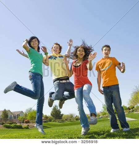 Happy Teens Jump