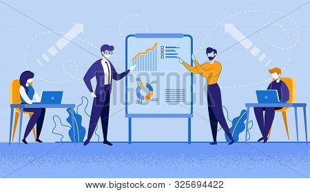 Company Leader, Business Coach, Executive Manager Pointing On Flip Chart Graph, Explaining Company S