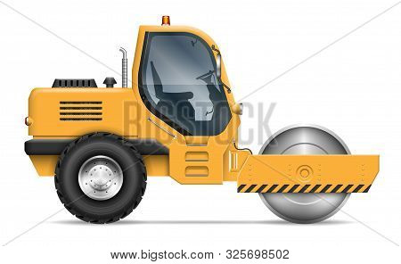 Road Roller View From Side Isolated On White Background. Construction And Road-building Vehicle Vect