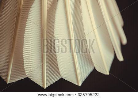 Feather Shuttlecock. Badminton Shuttlecock. Macro Of A Feather Shuttlecock. Design Of A Shuttlecock.