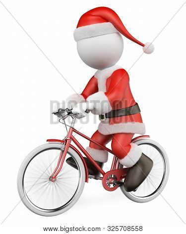 3d White People Illustration. Santa Claus Riding On A Red Bike. Isolated White Background.
