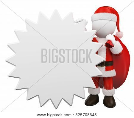 3d White People Illustration. Santa Claus Leaning On A Blank Star Shaped Sign. Isolated White Backgr