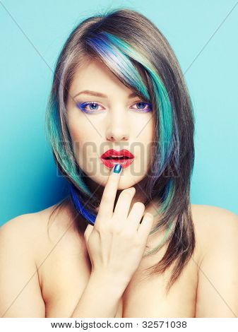 Photo of young lady with bright makeup on bright background