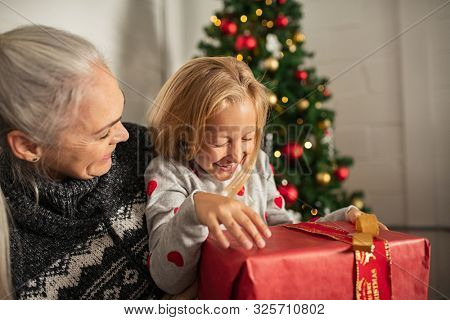 Cheerful senior woman and laughing girl holding christmas gift on sofa. Little girl sitting on grandmother lap holding xmas present under the tree. Granny and granddaughter enjoying christmas at home.