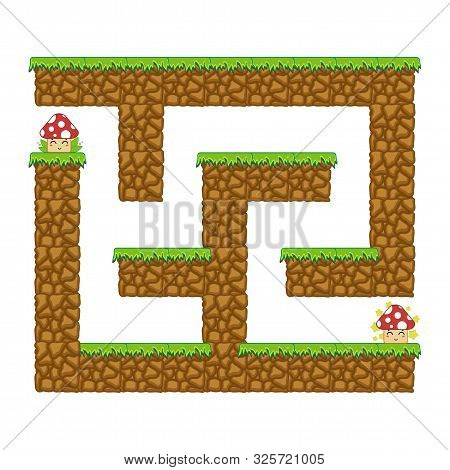 Maze Dungeon. Game For Kids. Puzzle For Children. Cartoon Style. Labyrinth Conundrum. Color Vector I