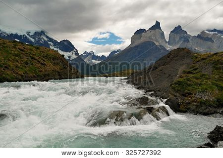 Torres Del Paine. Patagonia Mountains And Lake. Chile