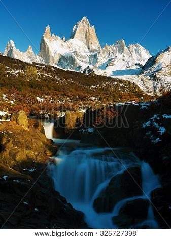 Waterfall In The Mountains. Patagonia, Argentina, South America