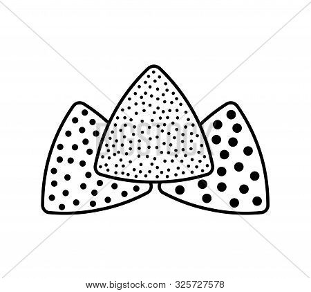 Sandpaper triangle line icon. Black & white illustration of sanding abrasive paper with grit texture. Glasspaper pads. Isolated objects poster