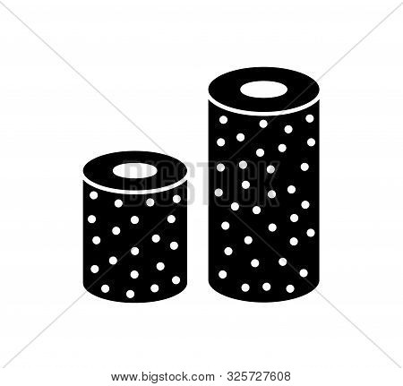 Sandpaper roll flat icon. Black & white illustration of sanding abrasive paper. Glasspaper flexible cloth with grain texture. Isolated object poster