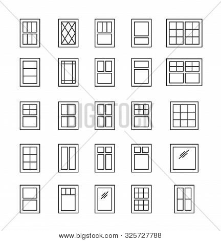 Casement & Awning Windows. Architecture Elements. Line Icons Isolated On White Background. Tradition