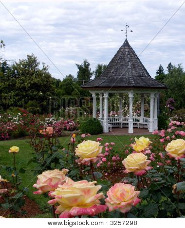 Rose Garden with a white gazebo in back. poster