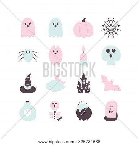 Halloween Set Paper Style. Pastel Colored Helloween Party Icon. Traditional Halloween Ghost, Pumpkin