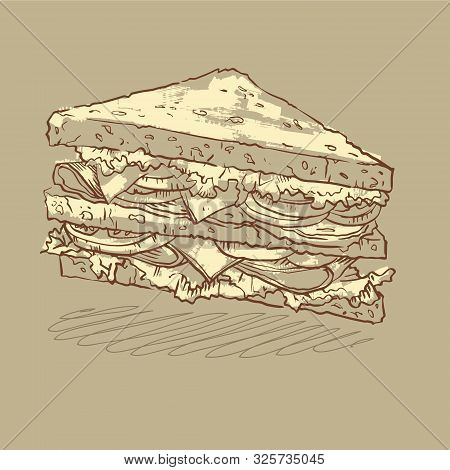 Sketch Illustration Of A Nutritious Sandwich With Three Slices Of Bread, Cheese, Tomatoes And Salad,