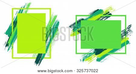Advert Frames With Paint Brush Strokes Vector Set. Box Borders With Painted Brushstrokes Backgrounds