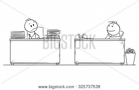 Vector Cartoon Stick Figure Drawing Conceptual Illustration Of Hard Working Office Worker Or Busines