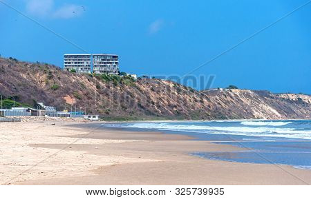Beautiful Beach On A Sunny Day, With People, Birds And Para-gliders. San Pedro, Manabi, Ecuador