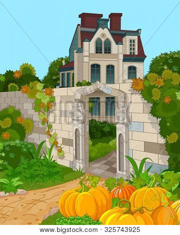 Illustration of Victorian house facade and pumpkins