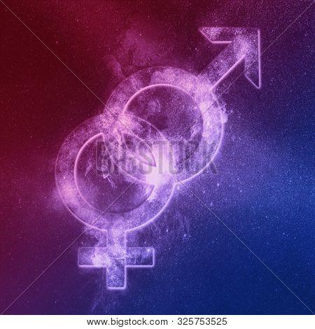 Heterosexual Symbol Red Blue. Heterosexual Sign. Abstract Night Sky Background