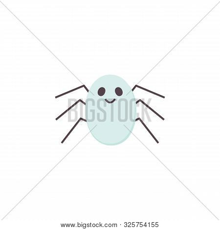 Cute Vector Spider Halloween Icon. Cartoon Character For Helloween Holidays. Printable Flat Style. T