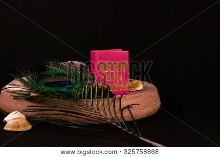 Mom You're Special Mini Message Book With Peacock Feather And Spreaded Seashells On Stone With Black