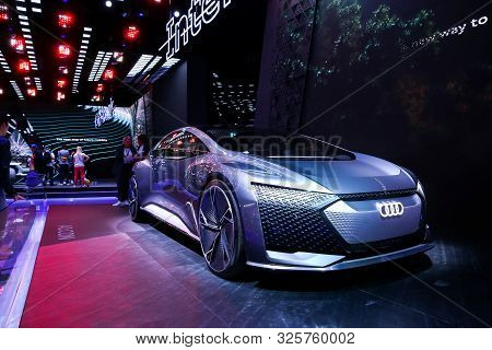 Frankfurt Am Main, Germany - September 17, 2019: World Premiere Of The Concept Car Audi Ai:con At Th