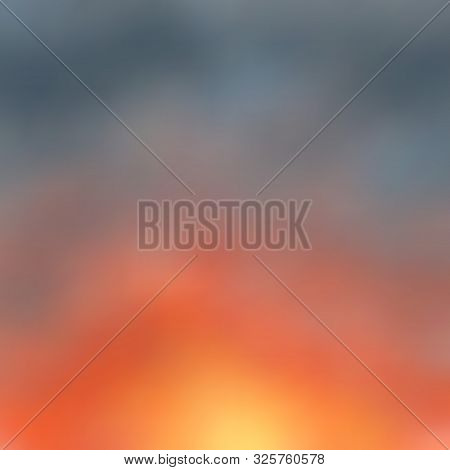 Bright Red-orange Sunset, Twilight Color Marengo, Blurred Background. Great As A Background For A Po