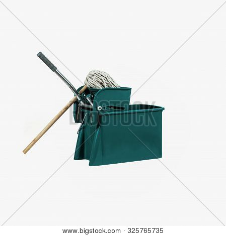 Green Industrial Heavy Duty Mop And Bucket With Wringer On White Background
