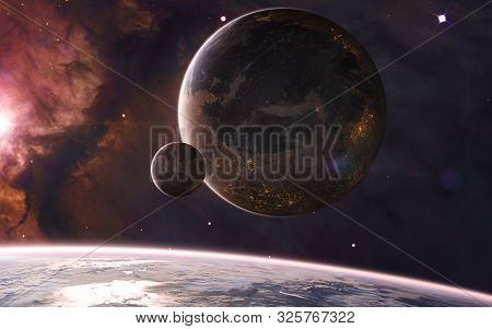 Colonized Planets In Deep Space In Warm Starlight. Nebulae, Star Clusters. Science Fiction. Elements